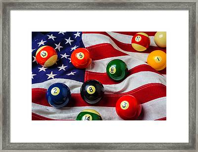 American Flag With Game Pool Balls Framed Print by Garry Gay