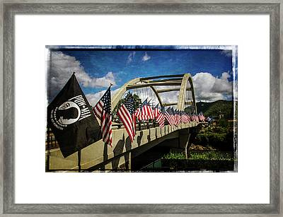 American Flags On Rogue River Bridge Framed Print