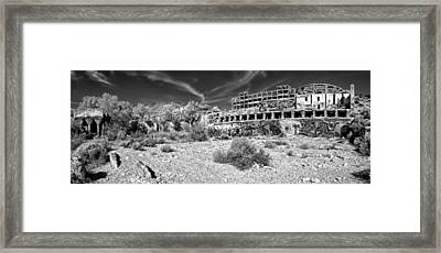 American Flat Mill Virginia City Nevada Panoramic Monochrome Framed Print