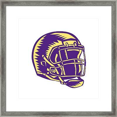 American Football Helmet Woodcut Framed Print by Aloysius Patrimonio
