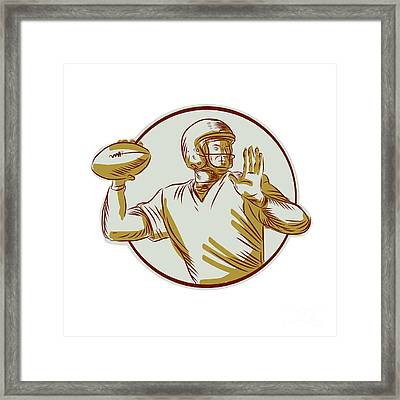 American Football Qb Throwing Circle Side Etching Framed Print