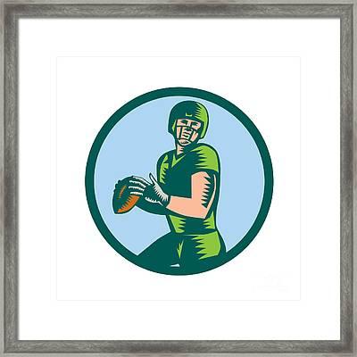 American Football Qb Throwing Circle Woodcut Framed Print by Aloysius Patrimonio
