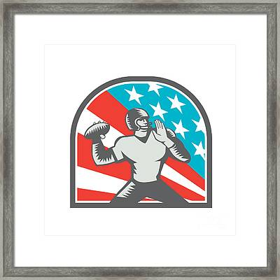 American Football Quarterback Qb Usa Flag Woodcut Framed Print