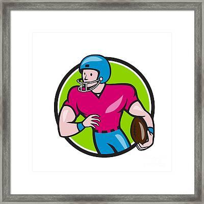 American Football Receiver Running Circle Cartoon Framed Print