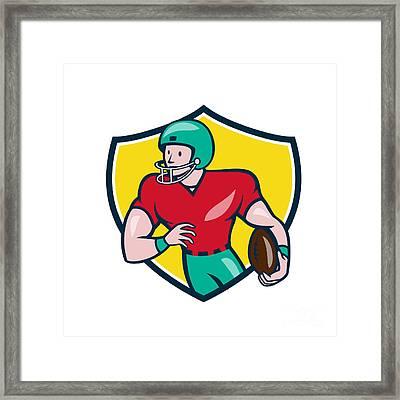 American Football Receiver Running Shield Cartoon Framed Print