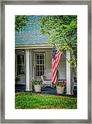 American Front Porch Framed Print by Debra and Dave Vanderlaan