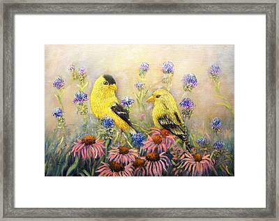 American Goldfinch Pair Framed Print