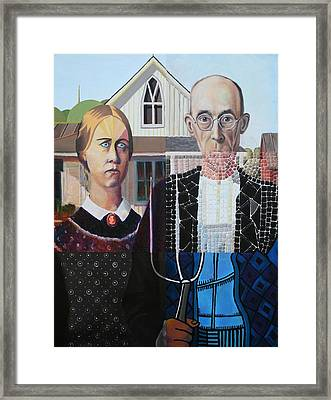 American Gothic After Grant Wood In Six Styles Framed Print