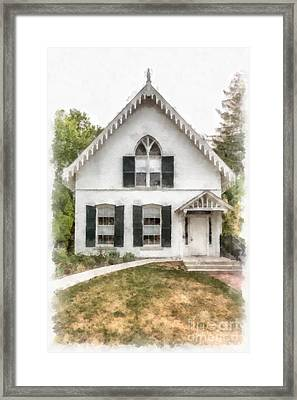 American Gothic Cottage Watercolor Framed Print by Edward Fielding