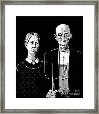 American Gothic Graphic Grant Wood Black White Tee Framed Print by Edward Fielding