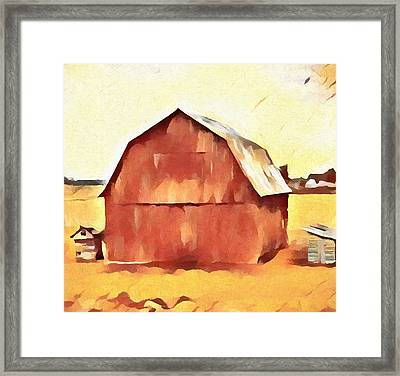 Framed Print featuring the painting American Gothic Red Barn by Dan Sproul