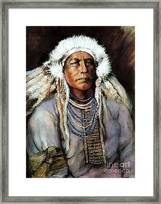 Framed Print featuring the painting American Indian Chief by Linda Olsen