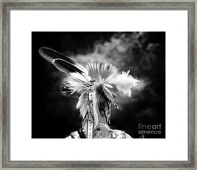 American Indian In Black And White Framed Print by Tom Gari Gallery-Three-Photography