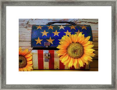 American Lunchbox With Sunflower Framed Print