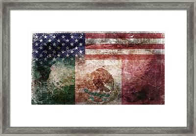 American Mexican Tattered Flag  Framed Print