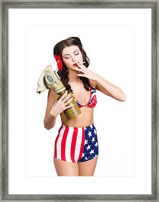 American Military Pin Up Girl Holding Gasmask  Framed Print by Jorgo Photography - Wall Art Gallery