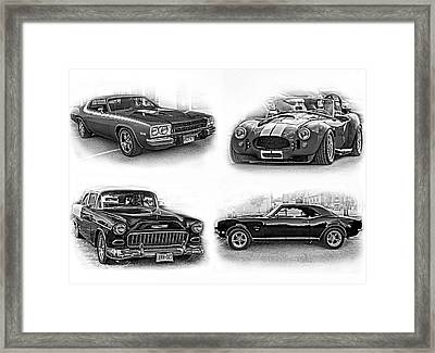 American Muscle Collage Bw Framed Print