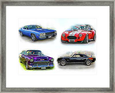 American Muscle Collage Framed Print
