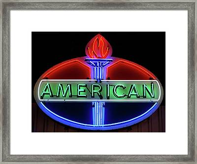 Framed Print featuring the photograph American Oil Sign by Sandy Keeton