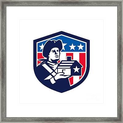 American Patriot Holding House Flag Crest Retro Framed Print