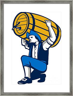 American Patriot Lifting Beer Keg Isolated Retro Framed Print by Aloysius Patrimonio