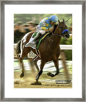 American Pharoah And Victory Espinoza Win The 2015 Belmont Stakes Framed Print