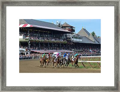 American Pharoah At Saratoga Race Course Framed Print