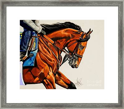 American Pharoah - Triple Crown Winner In White Framed Print