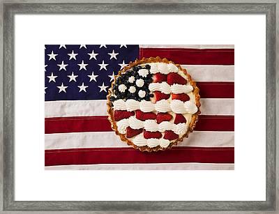 American Pie On American Flag  Framed Print