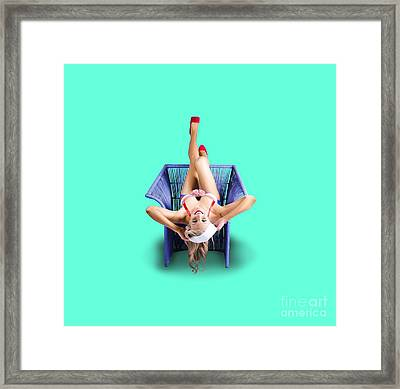 American Pinup Woman Upside Down On Cane Chair Framed Print by Jorgo Photography - Wall Art Gallery