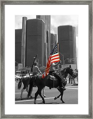 American Pride - Detroit Highlight Framed Print by Art America Gallery Peter Potter