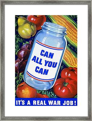 American Propaganda Poster Promoting Canned Food Framed Print