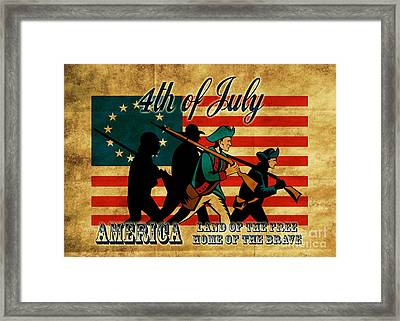 American Revolution Soldier Marching Framed Print by Aloysius Patrimonio