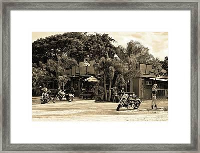 American Roadhouse Sepia Framed Print