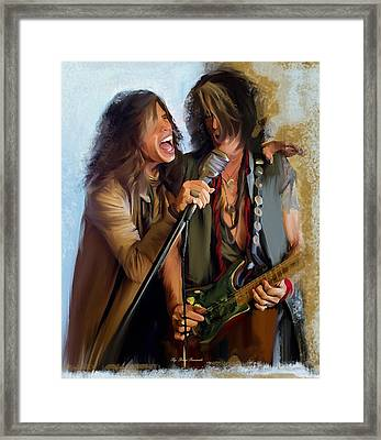 American Rock  Steven Tyler And Joe Perry Framed Print
