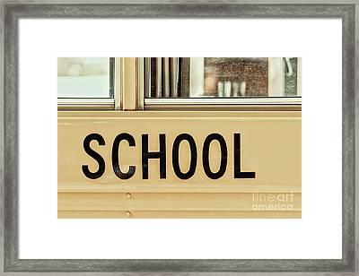 American School Bus Sign Framed Print by Radu Bercan