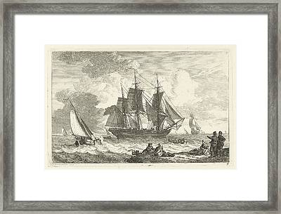American Ship In Troubled Waters Framed Print by Celestial Images