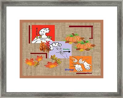 American Sign Language Asl Happy Thanksgiving Framed Print