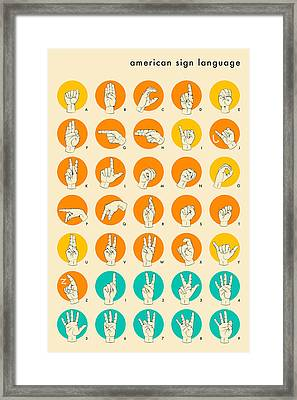 American Sign Language Hand Alphabet Framed Print by Jazzberry Blue