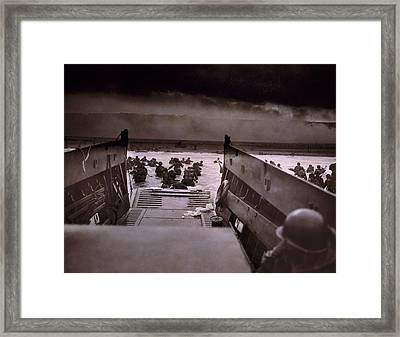 American Soldiers Wade From Coast Guard Framed Print by Everett
