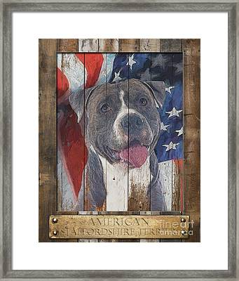 American Staffordshire Terrier Flag Poster 2 Framed Print by Tim Wemple