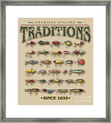American Traditions Lures Framed Print by JQ Licensing Jon Q Wright