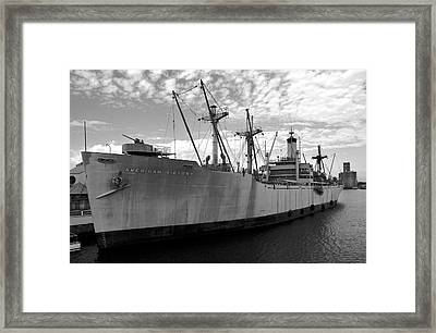 American Victory Ship Tampa Bay Framed Print by David Lee Thompson