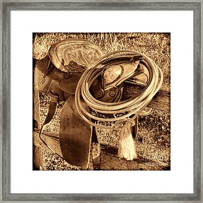 American West Legend Rodeo Western Lasso On Saddle Framed Print by American West Legend By Olivier Le Queinec