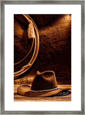 American West Rodeo Cowboy Hat And Lasso - Sepia Framed Print