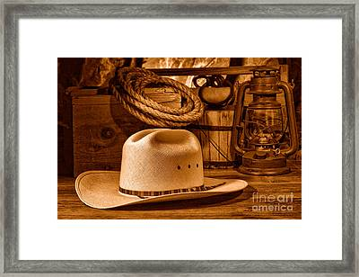 American West Rodeo Cowboy Hat - Sepia Framed Print
