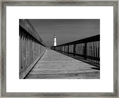 American Wood Way Black And White Framed Print
