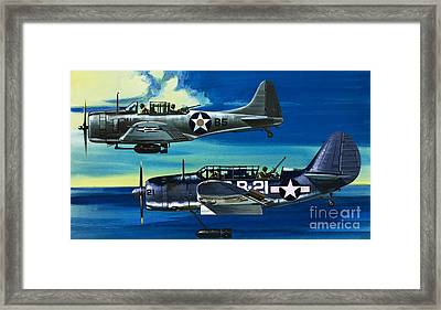 American Ww2 Planes Douglas Sbd1 Dauntless And Curtiss Sb2c1 Helldiver Framed Print by Wilf Hardy