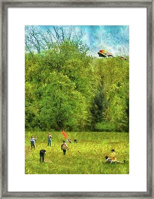 Americana - People - Let's Go Fly A Kite Framed Print by Mike Savad