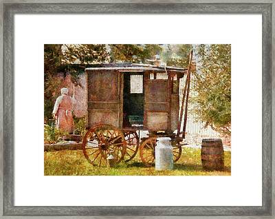 Americana - The Milk And Egg Wagon  Framed Print by Mike Savad